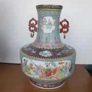 Vintage Large Porcelain Chinese Vase with Hand Painted  Pictures of Children Playing with Seal on Bottom