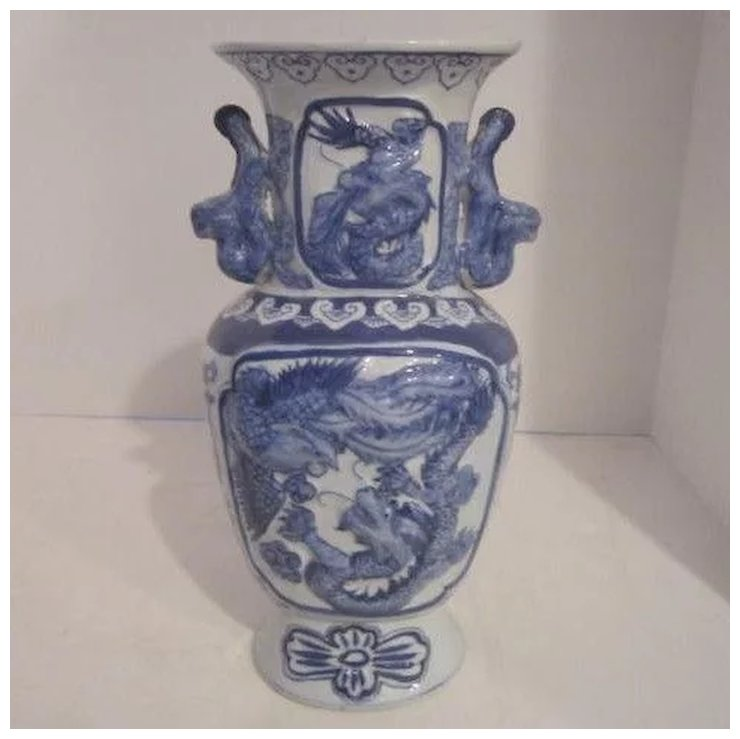 Vintage Chinese Blue And White Porcelain Vase With Dragon And