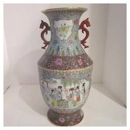 VIntage Large Porcelain Chinese Vase With Red Dragon Handles