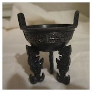 Vintage Miniature Chinese Footed Bowl with Ancient Designs