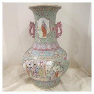 Vintage Porcelain Hand Painted Large Chinese Vase