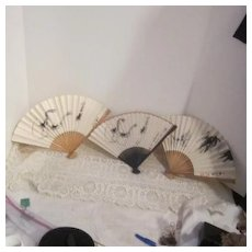 Vintage Set  Of 3 Paper Fans Given by CAAC