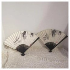 Vintage Pair of Identical Paper Fans Originally Given Out By CAAC