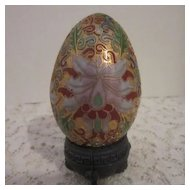 Vintage Champleve Cloisonne Egg with Stand