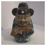 Vintage Chinese Signed Clay & Porcelain Man Holding Fan