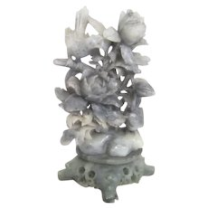 Grey Soapstone Carving of flowers & Birds on Carved Stand
