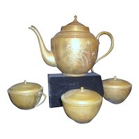 Heavy Brass Etched Tea Pot with 3 Lidded Tea Cups with Handles