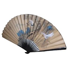 Large Asian Fan with Hand Painted Cranes