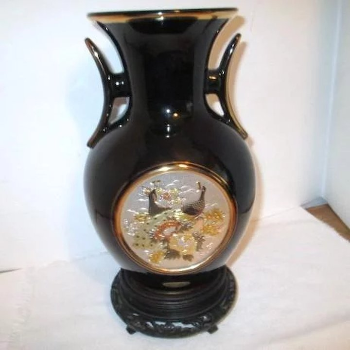 Black Japanese Chokin Brass Vase With Stand Choice Something