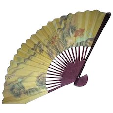 Chinese Pictorial Wall Fan with Landscape in Original Box