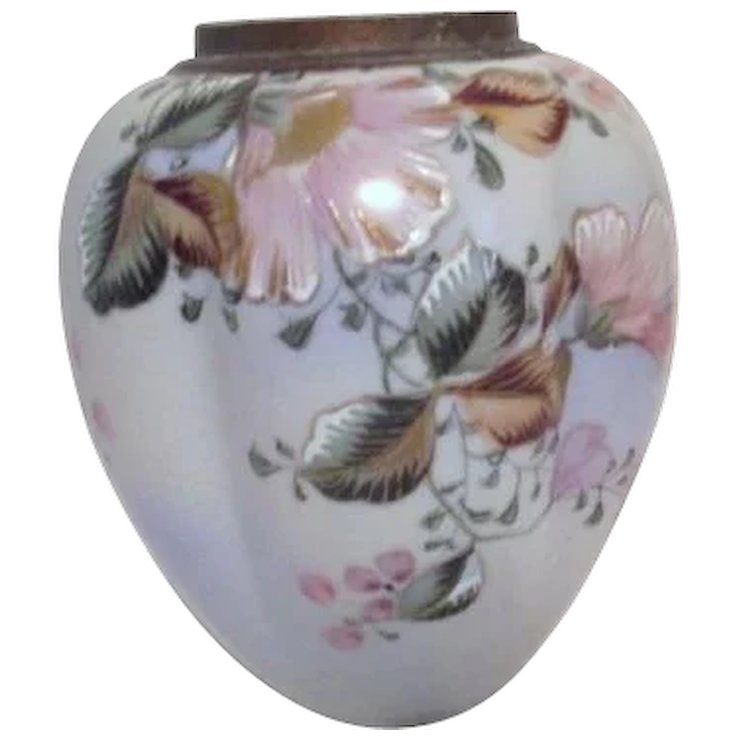 Hand Painted Japanese Vase With Gold Accented Flowers Something