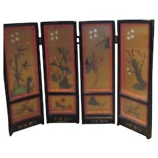 "18"" High Folding Black 4 Panel Chinese Screen"