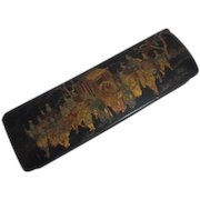 Black Lacquer Box Lock Hinged Lid Japanese Gold Highlighted Design