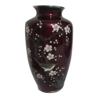 Japanese Blood Red Foil Cloisonne Vase with Bird