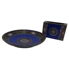 Chinese Champleve Cloisonne Blue Enamel Match Holder and Ash Tray