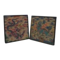 Pair of Asian Themed Framed Petit Point Needlepoint Pictures