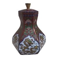 Faux Cloisonne Hexagonal Jar with Lid Dragon Design