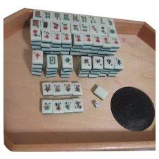 Miniature Mah-Jongg Tiles in Original Presentation Brocade Box