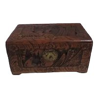 Chinese Carved Camphor Wood Jewelry Box