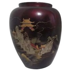 Moriage Lacquer Deep Red Vase with Inlaid Mother of Pearl in Japanese Scene on Front