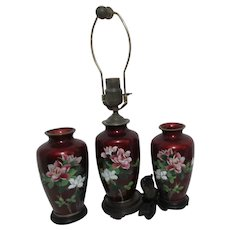Japanese Blood Red Foil Cloisonne  2 Vases with Matching Lamp