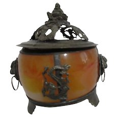 Asian Stone Footed Box with Metal Lid Buddha and Dragons