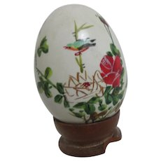 Asian Decorated Egg on Wood Stand