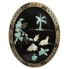 Black Lacquer Wall Hanging with Mother-of-Pearl Rabbits