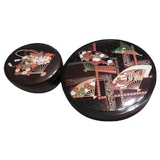 Set of 2 Japanese Black Lacquer Lidded Bowls with Fan Designs
