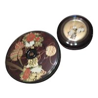 Set of 2 Japanese Black Lacquer Lidded Bowls with Floral Designs