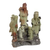 Soapstone 5 Asian Figurines on Stand