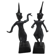Pair of Small Base Metal Siamese Temple Dancers