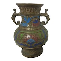 Japanese Champleve/Cloisonne Double Handled Enamel and Cast Metal Vase