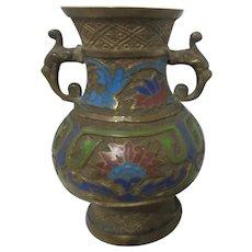 Japanese Champleve/Cloisonne Double Handled Enamel and Cast Metal Vase