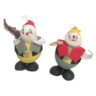 Pair of Vintage Elves or Santa's Helpers Hanging Ornaments