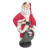 Fabric-Mache Standing Santa with Toy Bag and Book