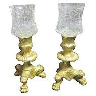 Two Brass Candle Holders with Two (Red and White) Tops for Each Made in Italy