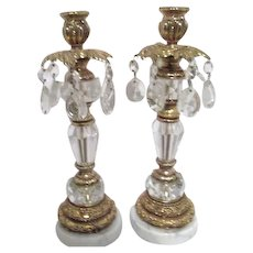 Pair of Crystal and Metal on Marble Base  Candleholders