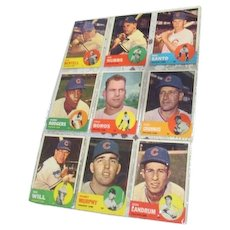Set of 9 Topps Baseball Cards 1963 Cubs