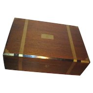 Antique Soft Wood Travel Writing Desk with Brass Trim