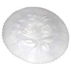 Imperial Glass Co. Roses, Milk Glass Footed Wall or Torte Plate with Bas Relief Roses