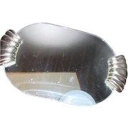 Vanity or Hanging Mirror with Silvertone Handles