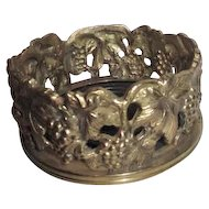 Brass Wine Bottle Coaster with Grapes & Leaves Pattern