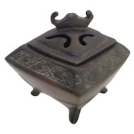 Antique Bronze Footed Incense Burner Stamped JB1882