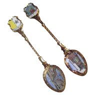 Two Gold Tone Enamel Spoons Vatican City and Bryggen Bergen