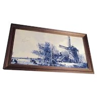 Framed Double Tile Dutch Hand Painted Windmill Scene