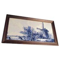 Framed Double Tile Dutch Hand Painted Windmill Scene