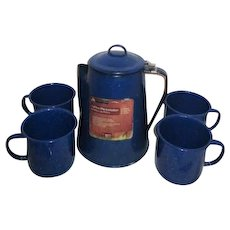 Blue Enamelware Coffee Percolator and 4 Cups by Ozark Trail