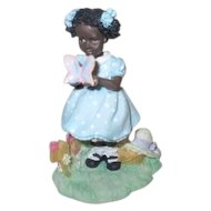 Set of 5 Hand Painted Resin Black American Girls at Play