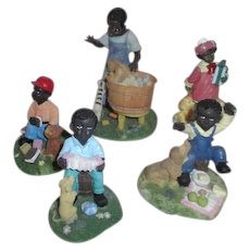 Set of 5 Hand Painted Resin Black American Children at Play